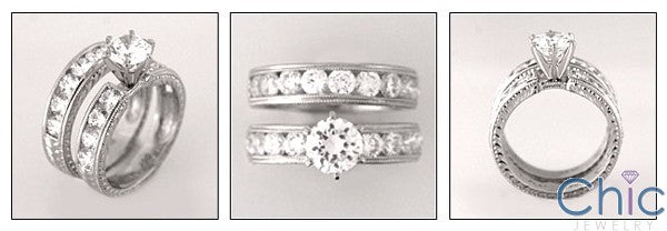 Matching Set 1 Ct Round Center HCt Engraved Channel Shanks Cubic Zirconia Cz Ring