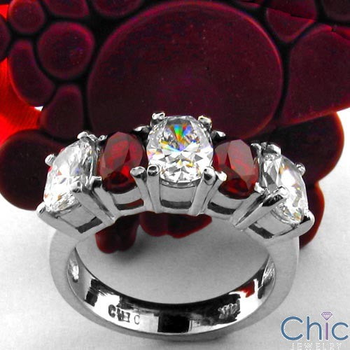Anniversary Ruby Ct Diamond Color Oval Cubic Zirconia Cz Ring