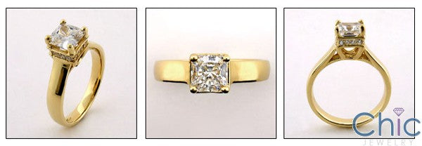 Engagement 1 Ct Princess Center Lucida Style Pave Cubic Zirconia Cz Ring