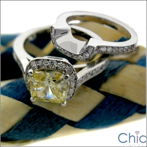 Engagement 1.25 Canary Cushion Pave Cubic Zirconia Cz Ring
