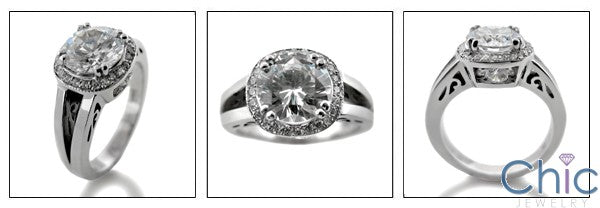 2 Ct Round Cubic Zirconia in Halo Pave Cz 14K White Gold Ring