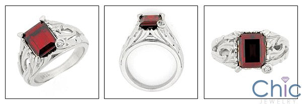 Anniversary Ruby color Emerald 3 Ct Cubic Zirconia Cz Ring