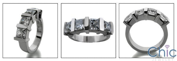 Anniversary .30 Ct Each Princess 4 Stone Channel Cubic Zirconia Cz Ring
