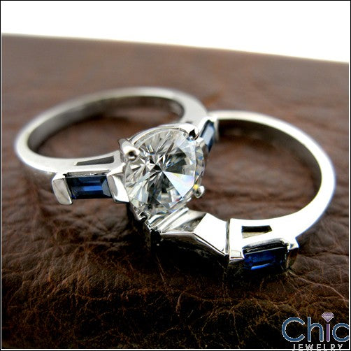 3 Stone 2.25 Round Diamond Color Center Sapphire Blue Baguettes Channel Cubic Zirconia Cz Ring