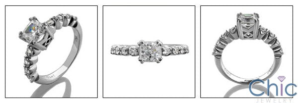 Engagement 0.75 Princess Center double prongs Cubic Zirconia Cz Ring