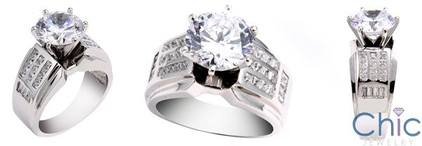 Cubic Zirconia 3 Carat Round Center 10.5mm Wide Shank Channel Set 14K W Gold Engagement Ring