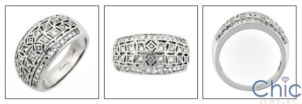 Fine Jewelry Wide Dome Channel Ct Pave Cubic Zirconia Cz Ring