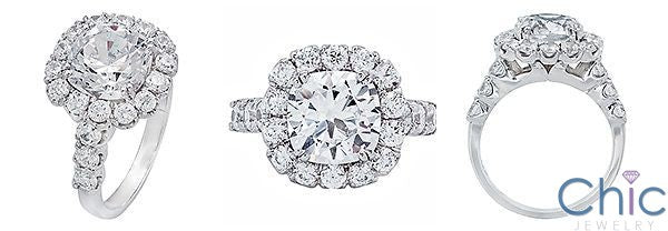 3.5 Cushion Cut Center Halo Cubic Zirconia 14K White Gold Engagement Ring