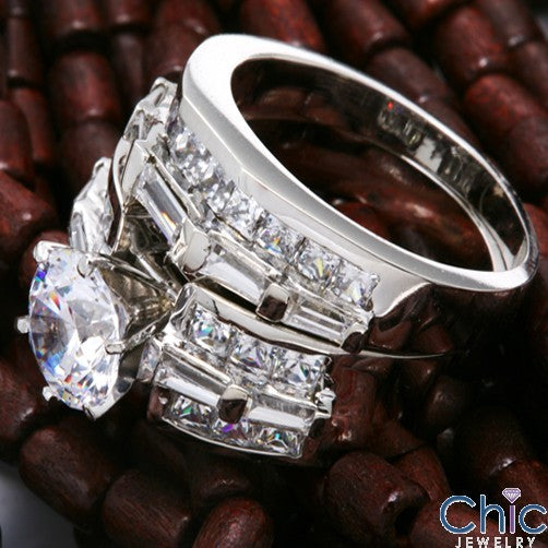 Engagement 2 Ct Round CZ Channel Princess Baguettes Cubic Zirconia 14K Gold Ring