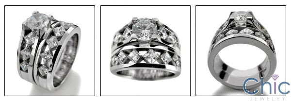 Matching Set 2.6 Ct Round Center Channel Princess Wedding Cubic Zirconia Cz Ring