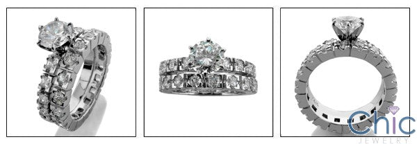 Matching Set 1 Ct Round Center Eternity Cubic Zirconia Cz Ring