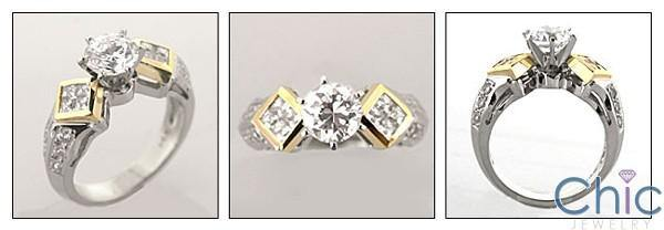 1 Carat High Qaulity Round Cubic Zirconia Two Tone Gold Engagement Ring