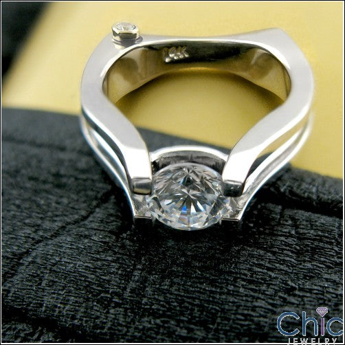 Solitaire 1 Ct Round Open d Cubic Zirconia Cz Ring