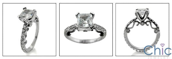 Engagement Princess 1 Ct Center Eternity Cubic Zirconia Cz Ring