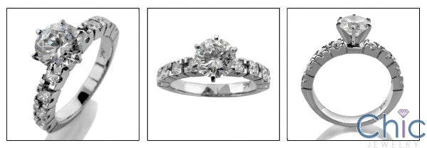 Engagement 1 Ct Round Center 6 prongs Tyffany Cubic Zirconia Cz Ring