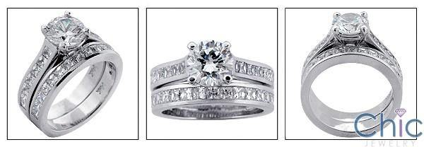 1.5 Round Center Engagement Cubic Zirconia Ring Matching Channel Set CZ Band 14K White Gold