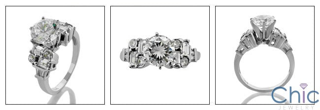 Engagement 1.5 Ct . Round Center Baguette Ct Small round Cubic Zirconia Cz Ring
