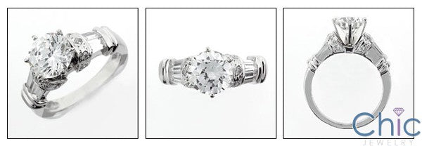 Engagement Round 2 Ct . Center Pave Ct Channel Cubic Zirconia Cz Ring
