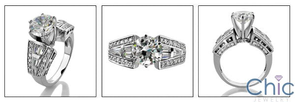 Engagement Round 2 Ct Center Channel Pave Set Cubic Zirconia Cz Ring