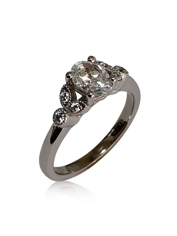 1 carat  Oval Cz engagement ring