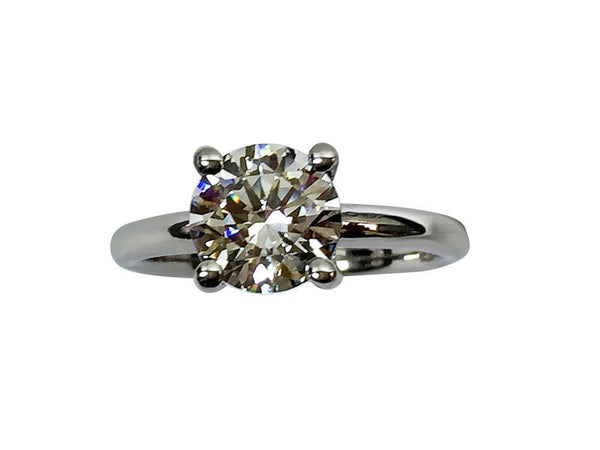 2 Carat Round Brilliant Cubic Zirconia Solitaire Ring Dome Shank 14 k White Gold