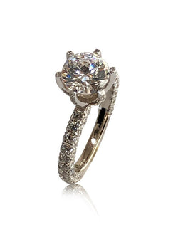 Highest Quality 2 Carat Round Cubic Zirconia Engagement Ring with 3 Rows