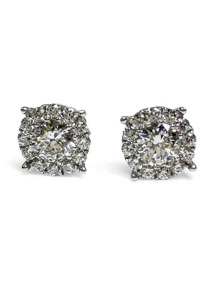 2 Carat Total Weight 14K W Gold Stud Earring