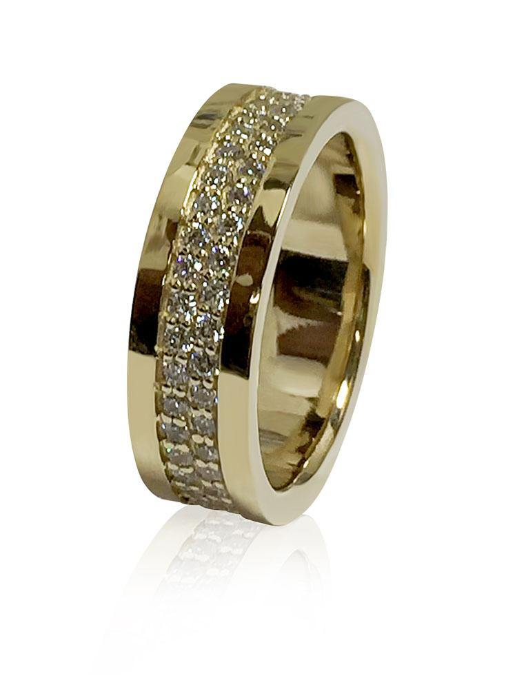 7 MM Wedding Eternity Band for Men Cubic Zirconia Pave 14K Yellow Gold