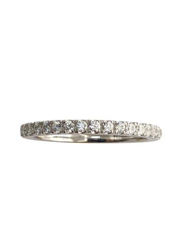 2 MM Eternity Band With pave set Cz Stones 14k white gold