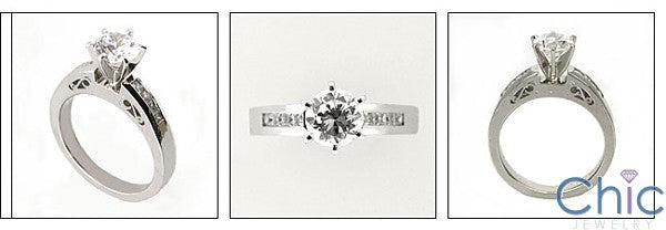 Engagement 1.5 Round Stone Ct Filigree Detail Cubic Zirconia Cz Ring