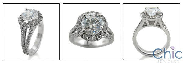 Engagement CZ Round 2 Ct Center Halo Pave Cubic Zirconia 14K White Gold Ring