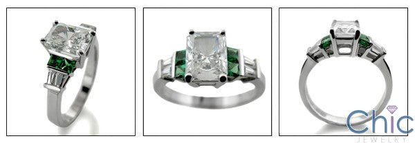Engagement 1.5 Radiant Center Emerald Green Princess Cubic Zirconia Cz Ring