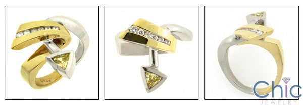 Fine Jewelry Canary Triangle Two Tone Cubic Zirconia Cz Ring