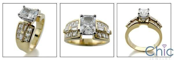 1.5 Cubic Zirconia Radiant Cut Wide Channel Set Shank 14k Yellow Gold Engagement Ring