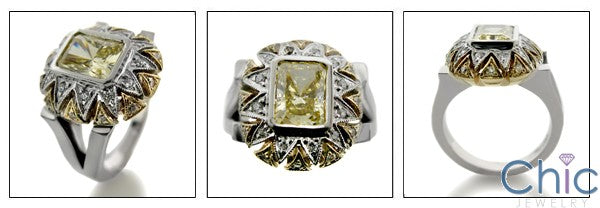 Estate 2 Ct Radiant Canary Bezel Cubic Zirconia Cz Ring
