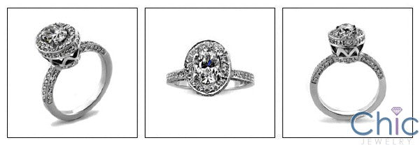 Engagement High Profile 1 Ct Oval Pave set Cubic Zirconia Cz Ring