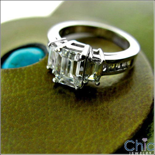 Anniversary 1.5 Emerald Prong Ct Channel Cubic Zirconia Cz Ring