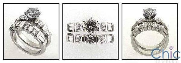 Matching Set 2.6 TCW Round Baguette Channel Ct Cubic Zirconia Cz Ring