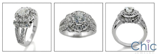 Engagement 1 Ct Round Cubic Zirconia Center Crown Design All Pave 14K White Gold Ring
