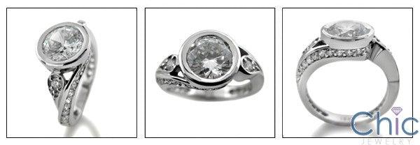 Round 2Ct Cubic Zirconia Bezel Twisted Shank 14K White Gold Ring