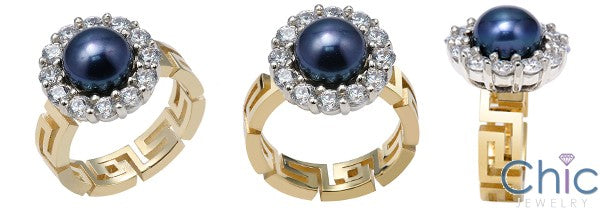 Anniversary Pearl in Halo Two Tone Cubic Zirconia Cz Ring