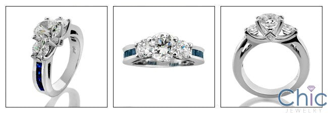 Engagement Three Stone Sapphire Princess Cubic Zirconia Cz Ring