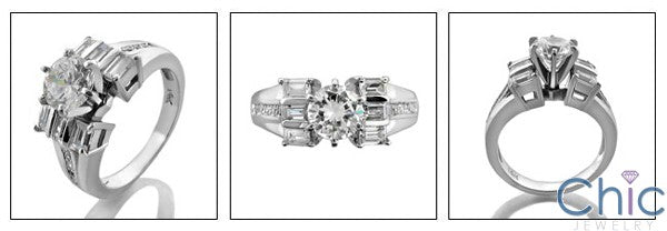 Engagement Round 1 Ct Center Baguettes Ct small Round Cubic Zirconia Cz Ring