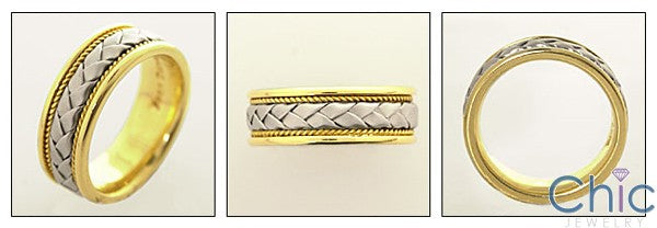 Mens Two Tone Braided Gold Wedding Band