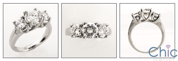 3 Stone 1 Ct Round Center 1 Ct Cubic Zirconia Cz Ring