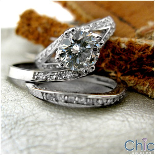 Matching Set 1.75 Ct Round Center Pave Ct Split Shank Cubic Zirconia Cz Ring