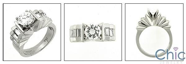 .75 Round CZ Center  Baguette Channel Cubic Zirconia Engagement Ring 14K White Gold