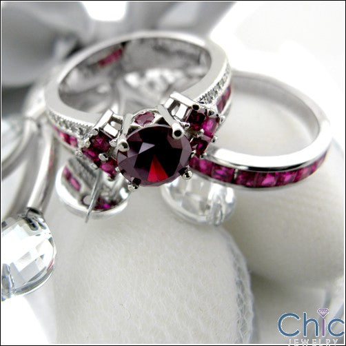 Engagement Ruby Red 1.5 Ct Round Center Ruby Princess Cubic Zirconia Cz Ring