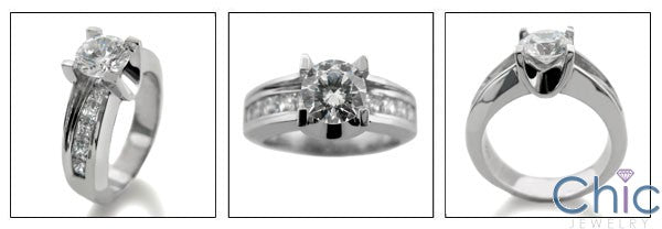 Engagement Round 1 Ct Center Cubic Zirconia Channel Princess Bridge Style CZ 14K White Gold Ring