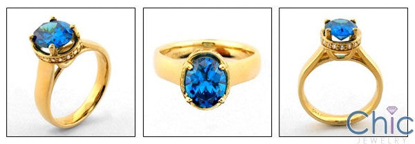 Anniversary 2.5 Oval Bright Blue Cubic Zirconia Cz Ring